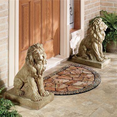 Lions at Guard Sculpture Pair | House