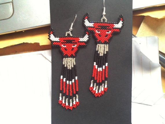 Native American Handmade Beaded Chicago Bulls Earrings