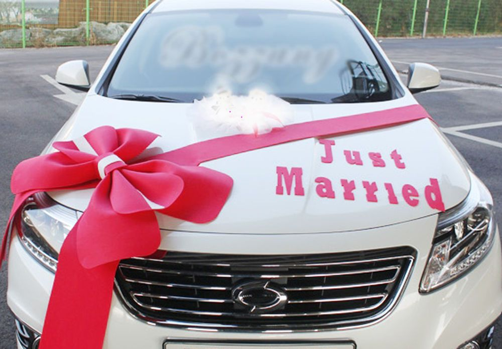 Wedding car decorations kit big ribbons red bows letter banner wedding car decorations kit big ribbons red bows letter banner decorations junglespirit Choice Image
