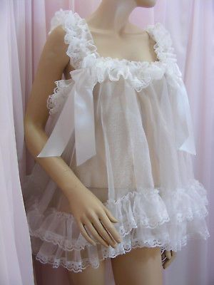 Details About Adult Sissy Organza Babydoll Negligee Nighty