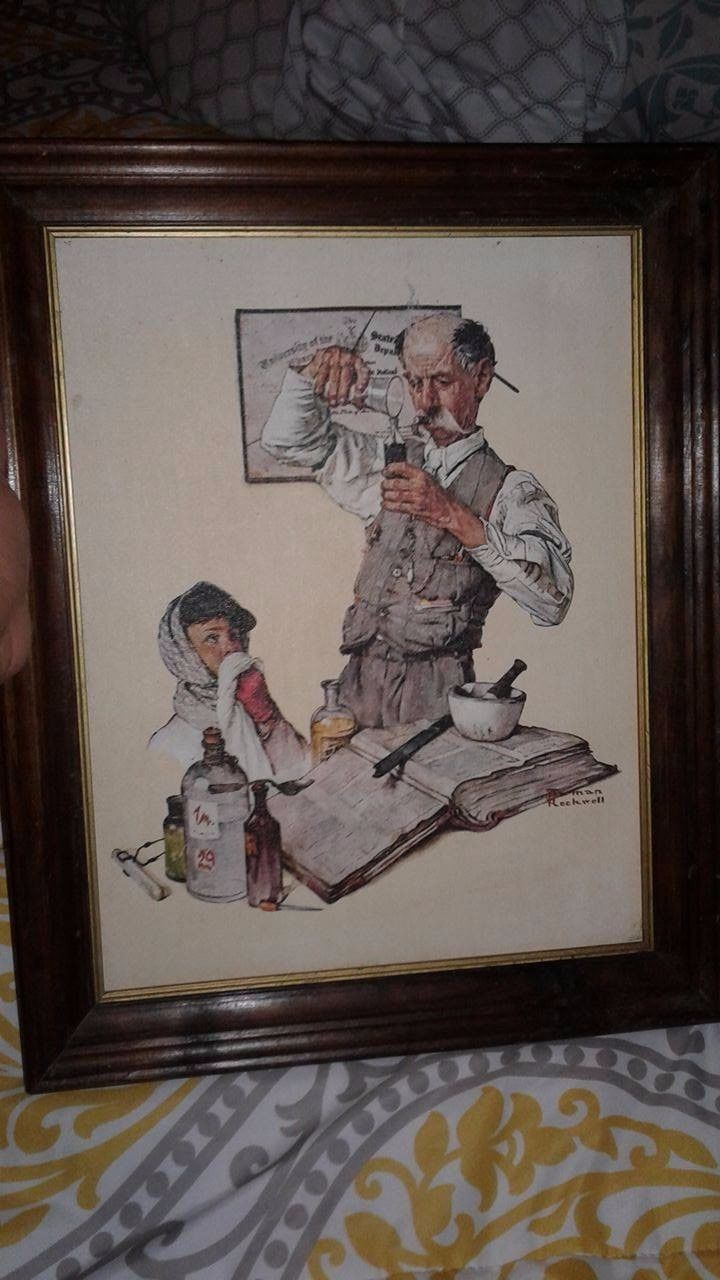 The Pharmacist Framed Print Norman Rockwell Painting In Frame 15 Hx12 W Canvas