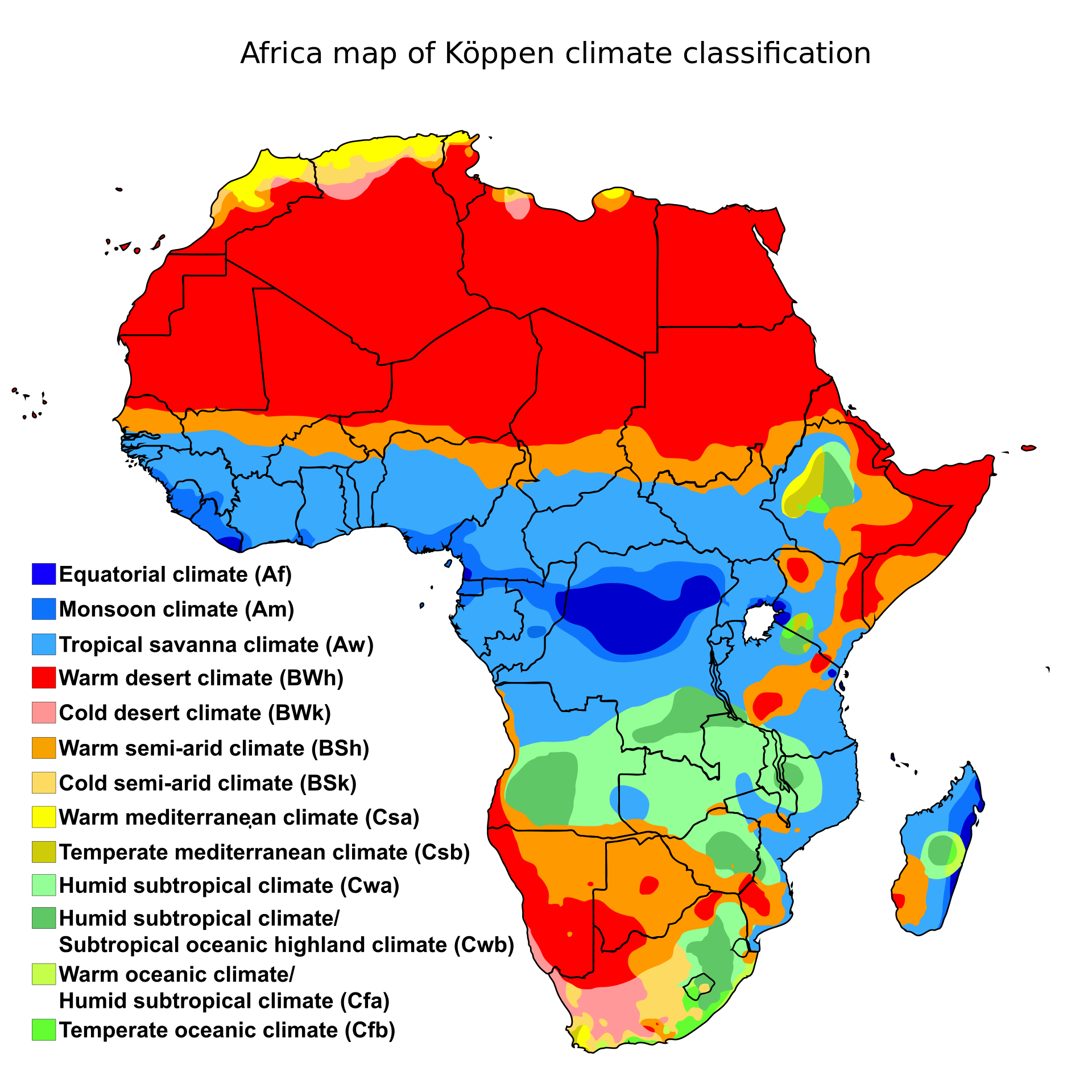 Climate zones of Africa, showing the ecological break between the