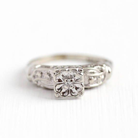 1950s Diamond Ring Vintage 14k White Gold Flower Engagement Ring