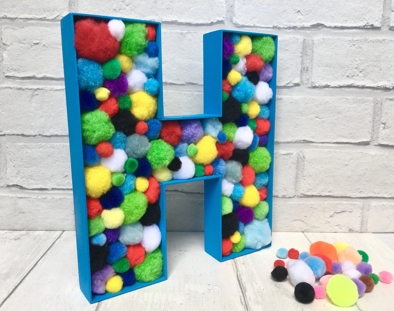 Baby Nursery Children's Playroom Personalised Letter Decoration Felt Pom Pom