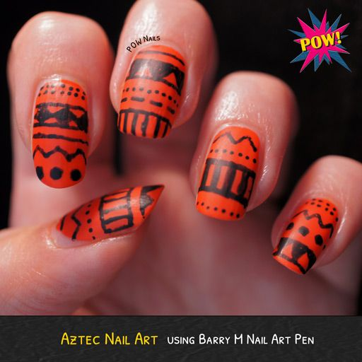 Some Aztec Nail Art Using Essie Capri And Barry M Nail Art Pens