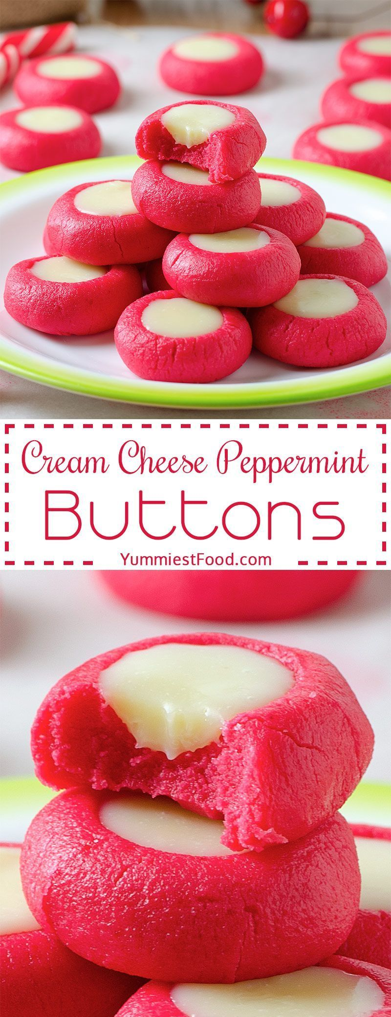 Peppermint Christmas Buttons Recipe Cream Cheese Peppermint Christmas Buttons Recipe - Super Easy to make Christmas Recipe, fantastically festive and always a hit with kids and adults alike!Cream Cheese Peppermint Christmas Buttons Recipe - Super Easy to make Christmas Recipe...