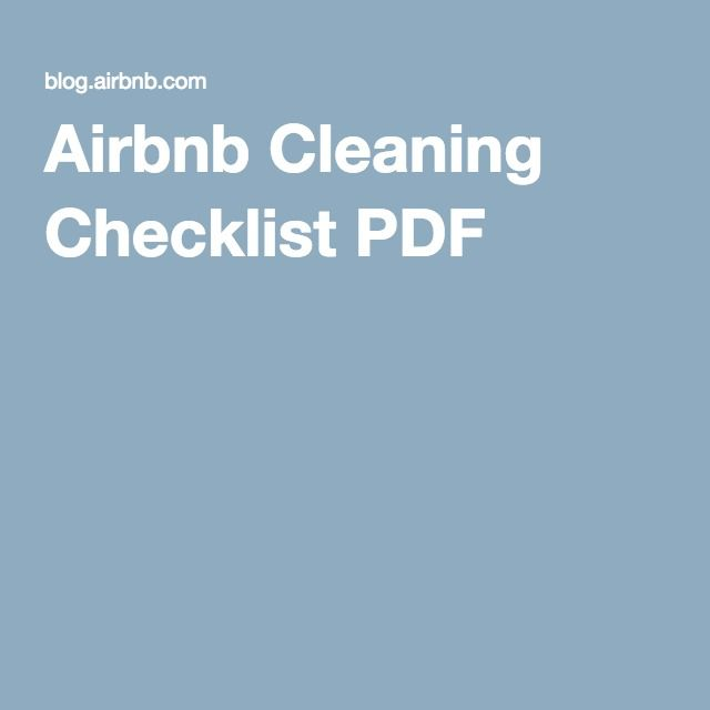 Airbnb Cleaning Checklist PDF | 1329 Arch Airbnb in 2019