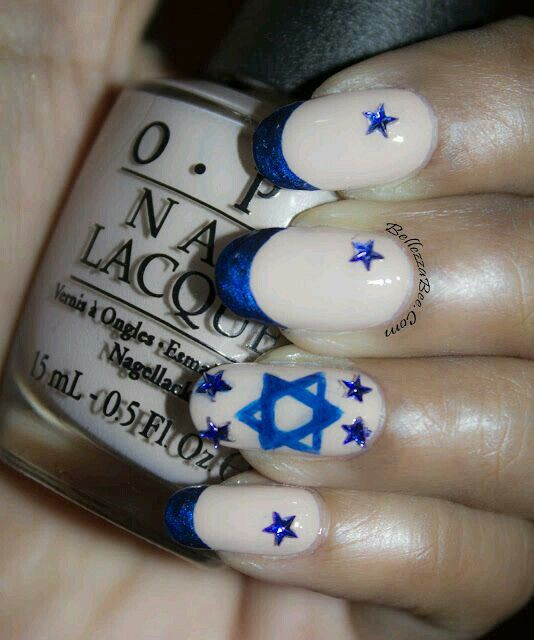 Star Of David Hanukkah Nail Art