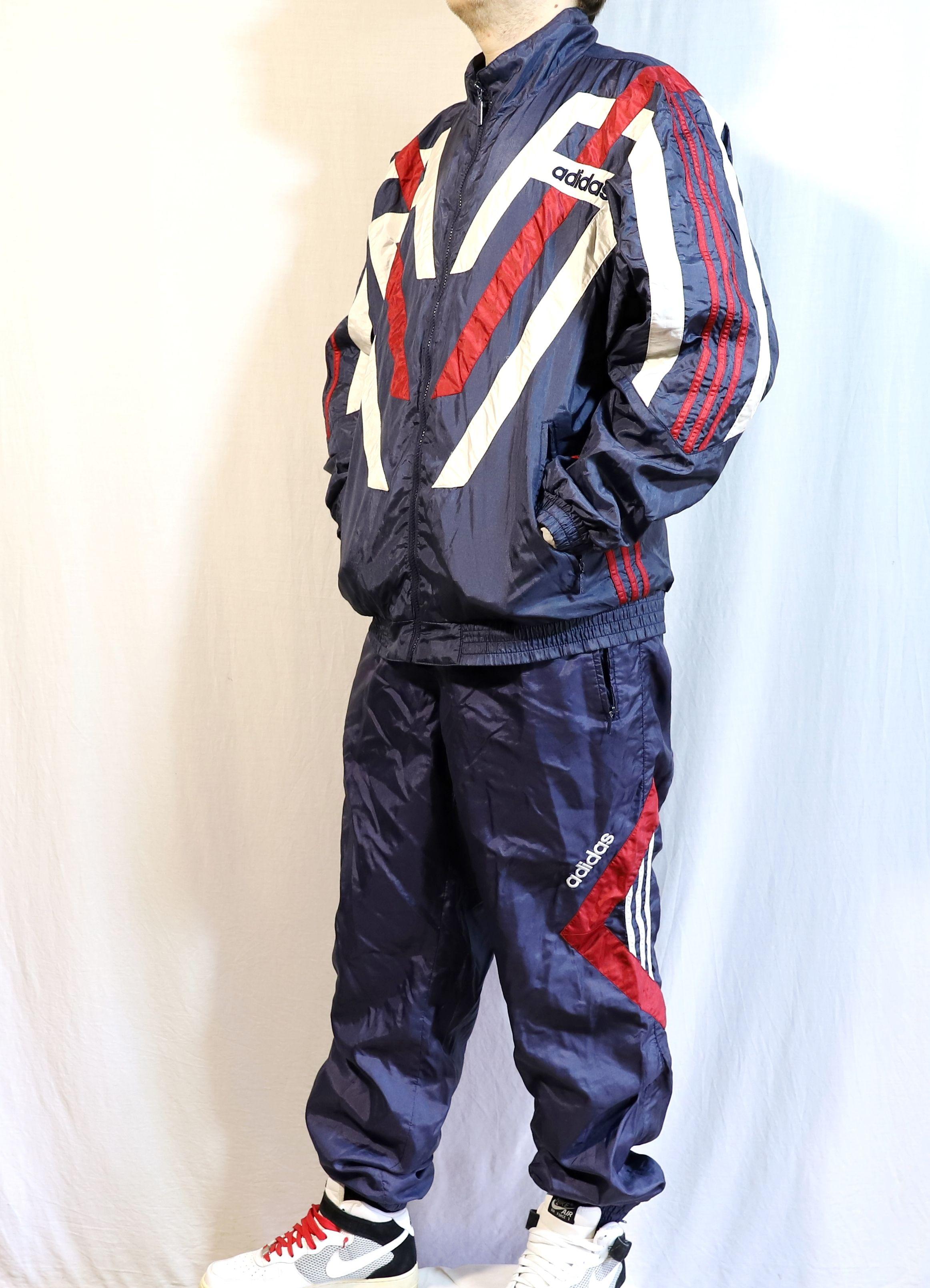 Vintage Adidas tracksuit, retro three stripes mens blue