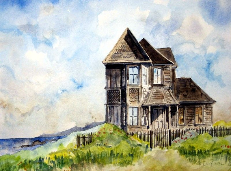 "House on Little Lake Street Mendocino... Watercolor 22"" x 16"" Best ..."