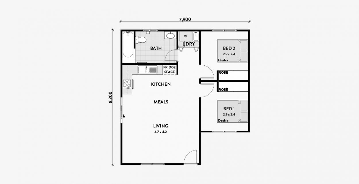 Dahlia 2br 60m2 Granny Flat Granny Flats Australia Floor Plans