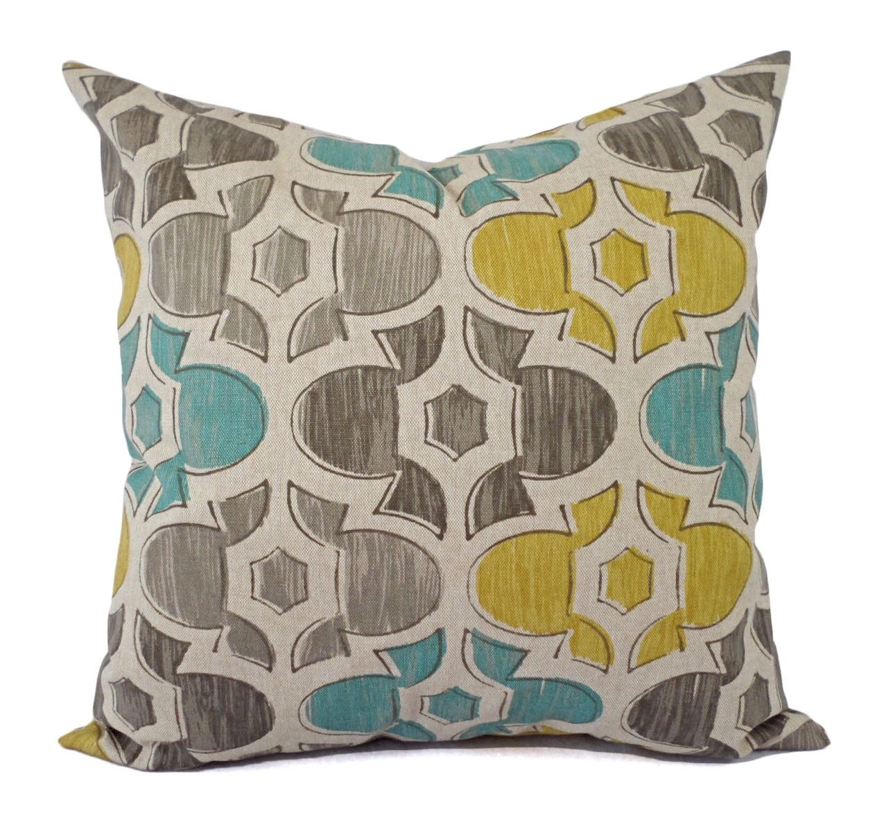 Decorative pillows with blue brown and yellow - Brown Yellow And Blue Decorative Pillow Covers Two Geometric Throw Pillow Covers Yellow Pillow