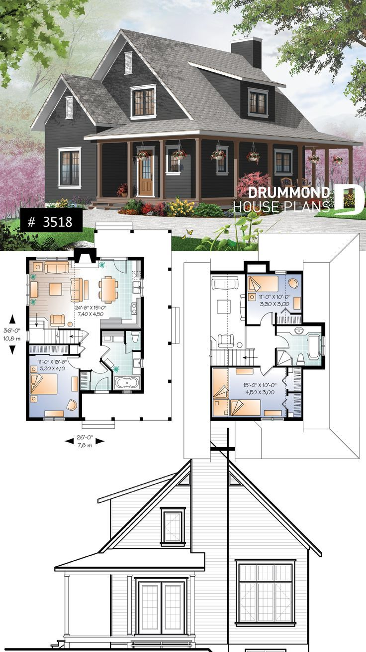 Discover the plan 3518 Hickory Lane which will please you for its 3 bedrooms and for its Farmhouse styles