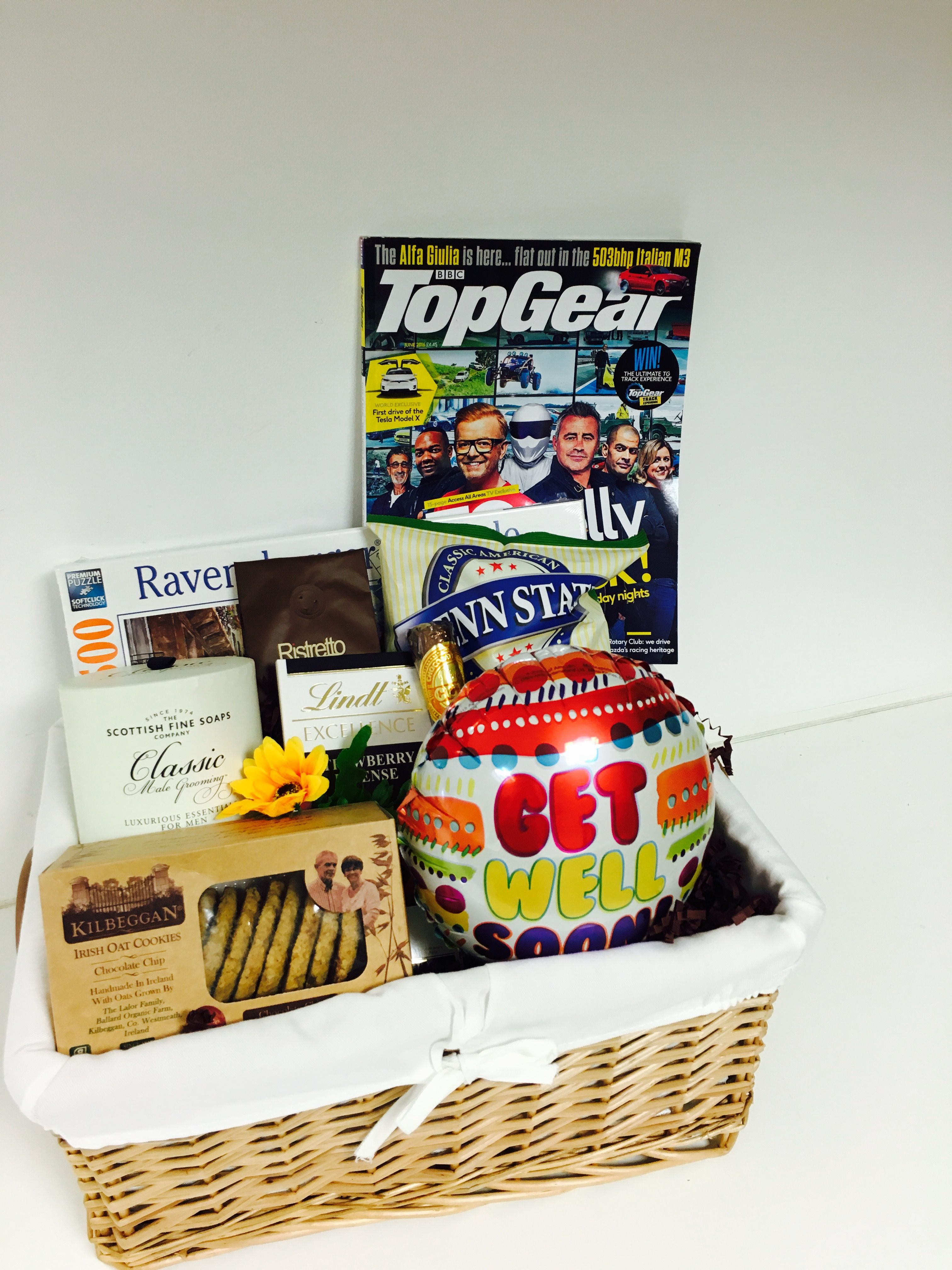 Get Well Soon Basket For Him With Snacks Magazine Jigsaw And Grooming Kit Gift Baskets For Him Gift Baskets Gift Hampers