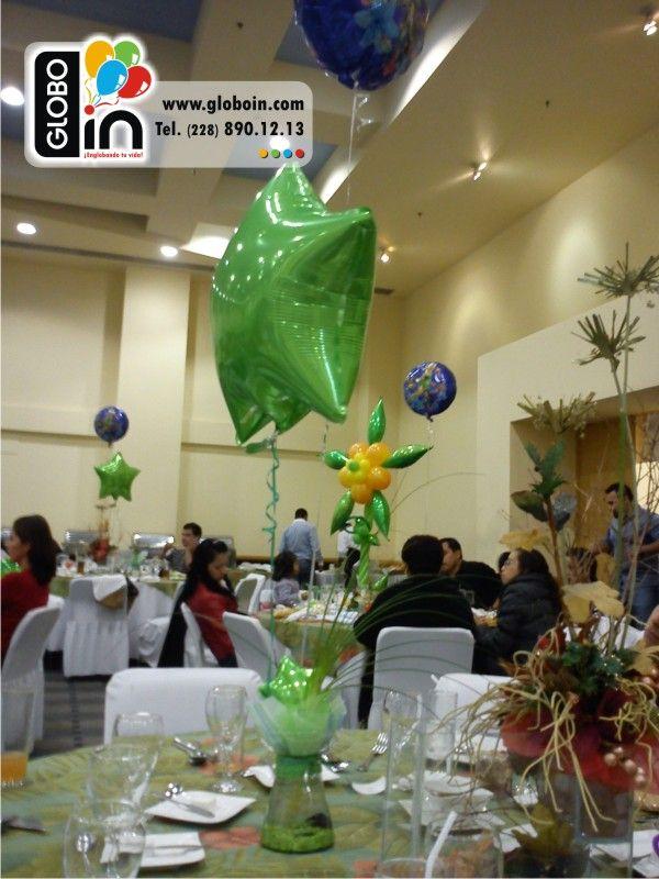 Centro de mesa tinkerbell con pecera centros de mesa con - Centros de mesa con globos ...