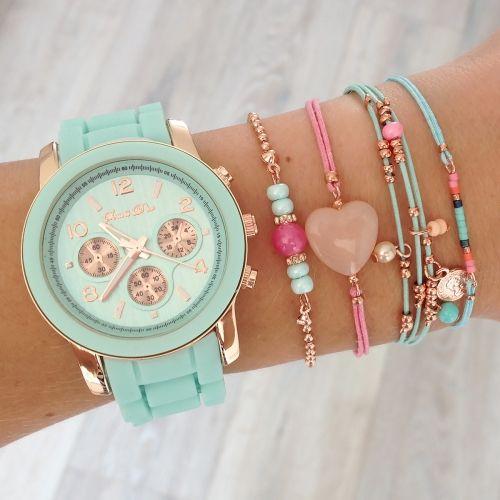 Mint15 - Watch 'Light Mint' and bracelets www.mint15.nl