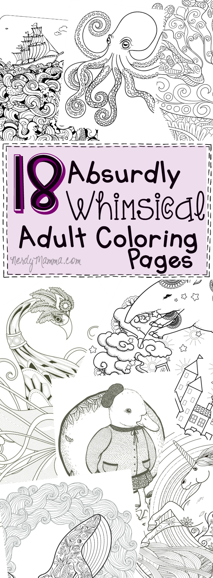 Free whimsical coloring pages for adults - 18 Absurdly Whimsical Adult Coloring Pages