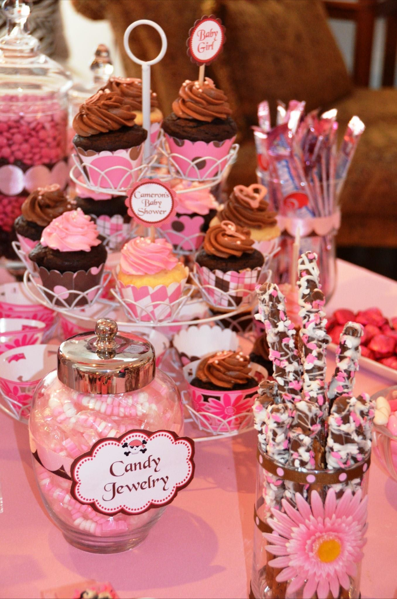I decorated glass jars with ribbon and a pink flower for my choc ...