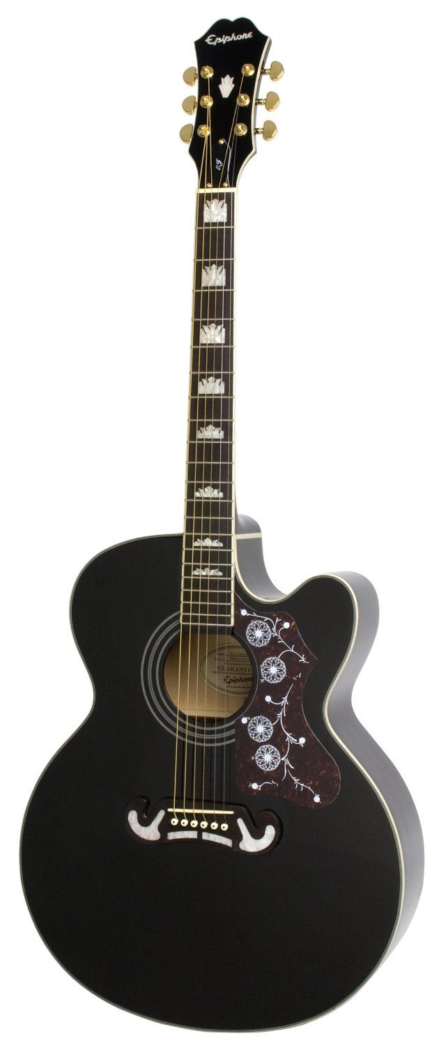 Amazon Com Epiphone Ej 200ce Acoustic Electric Guitar Shadow Preamp Black Musical Instruments Electro Acoustic Guitar Epiphone Acoustic Guitar Epiphone