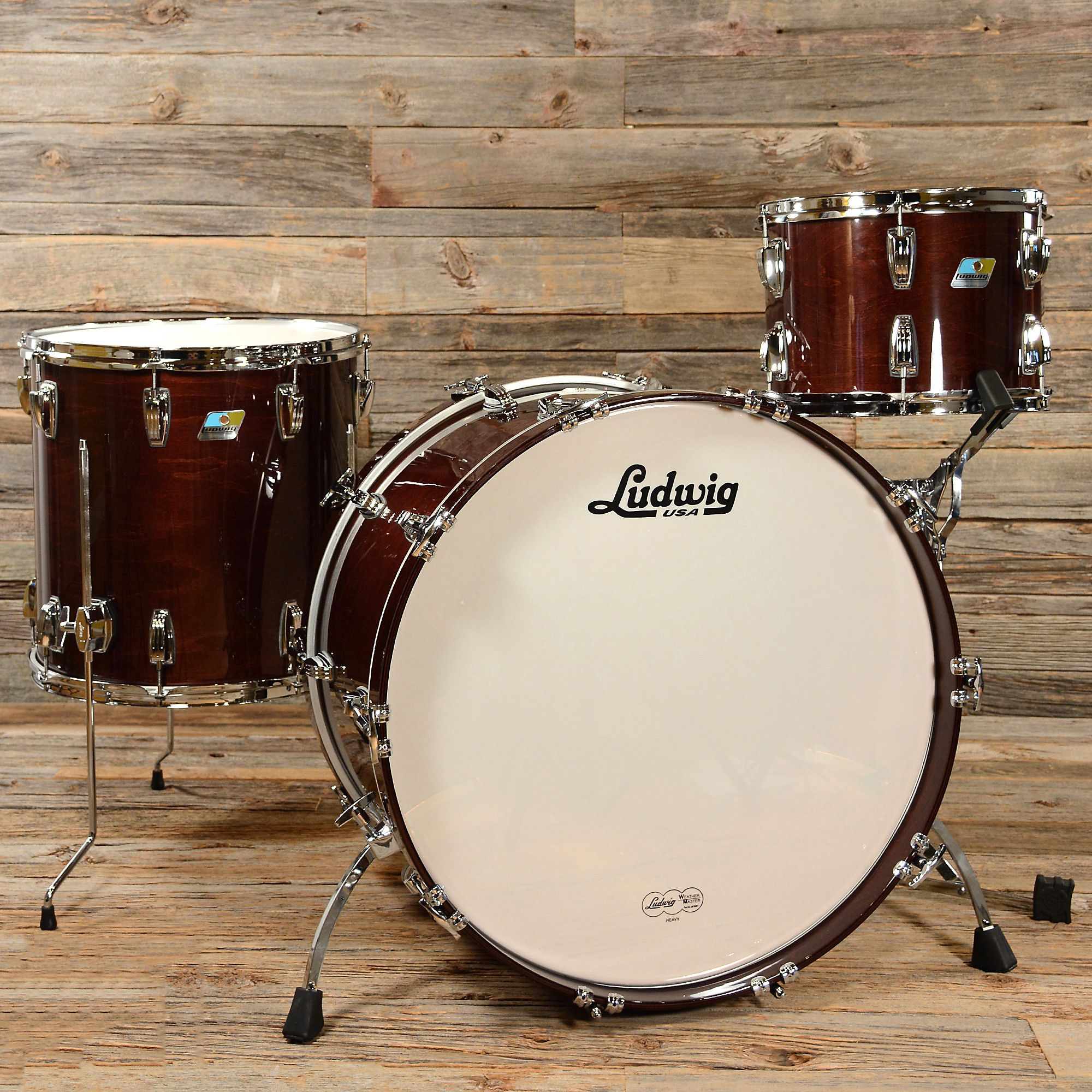 Ludwig Classic Maple 13 16 24 3pc Drum Kit Mahogany Stain Drum Kits Drums Ludwig Drums