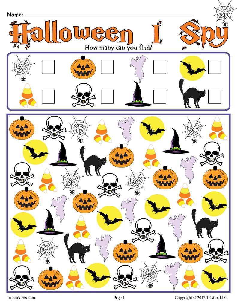 Halloween I Spy Printable Halloween Counting Worksheet Halloween Worksheets Halloween Worksheets Preschool Halloween Kindergarten