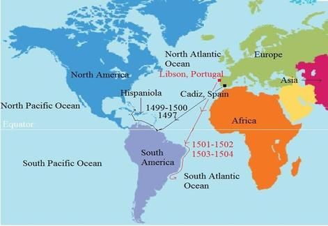 Amerigo Vespucciu0027 s routes Both Columbus \ Americus had never been - copy world map of america and europe