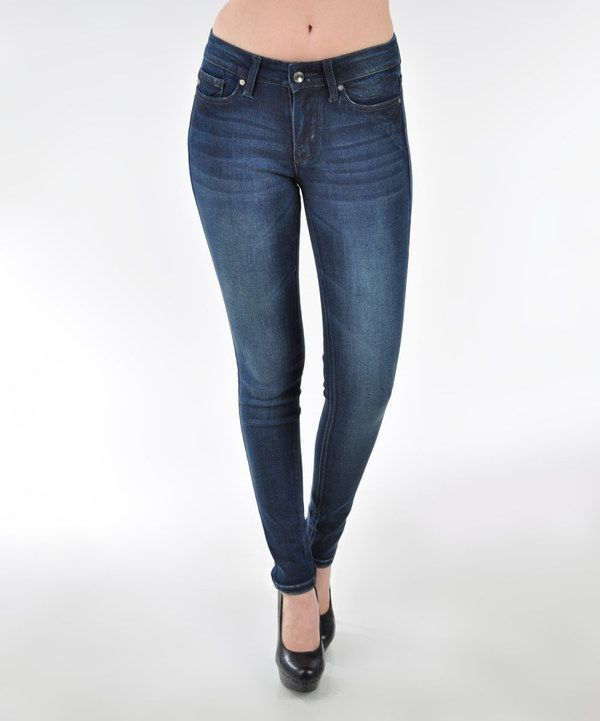 Look at this Dark Blue Faded Mid-Rise Skinny Jeans on #zulily today!