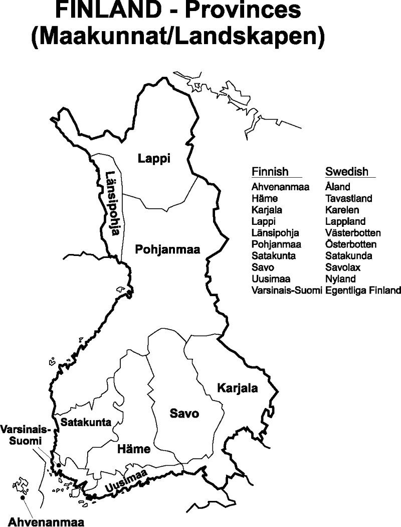 Pre-1939 Finland Provinces map for help in genealogy