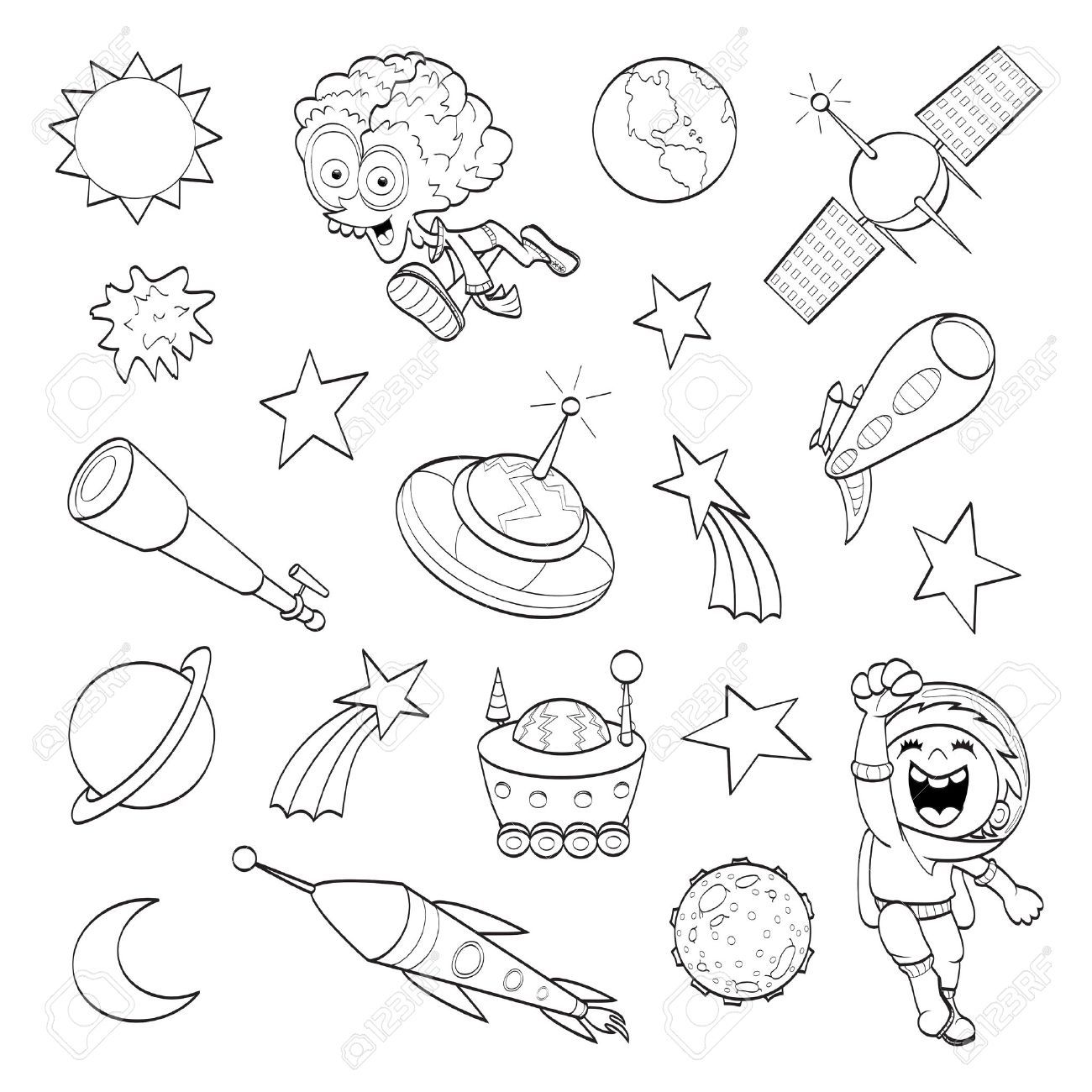 Space Cartoon Drawing Cartoon Outer Space Set Coloring