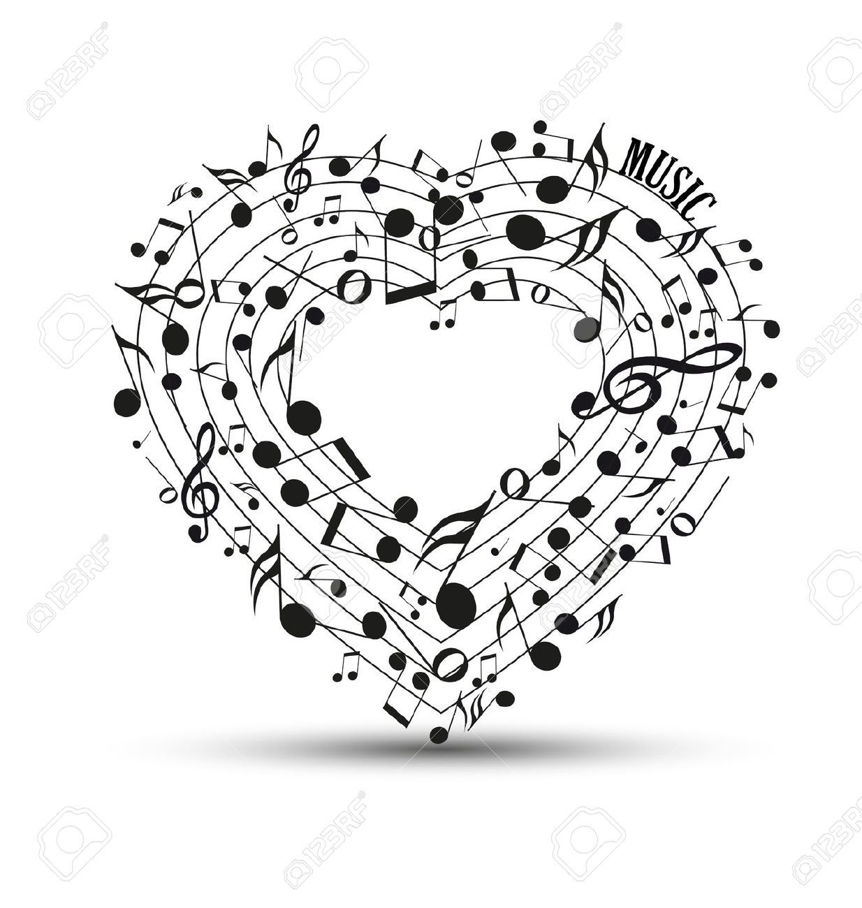 Musics musics pinterest embroidery amazon and youtube image de la catgorie decoration of musical notes in the shape of a heart biocorpaavc Gallery