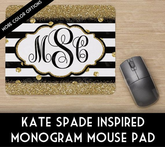 Digital KATE SPADE Inspired MONOGRAM Mouse Pad, Computer, Personalized Decor, Gold Glitter, Office Supplies