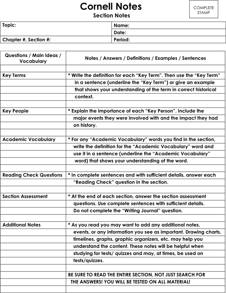 Cornell Notes Template   Classroom Stuff    Cornell