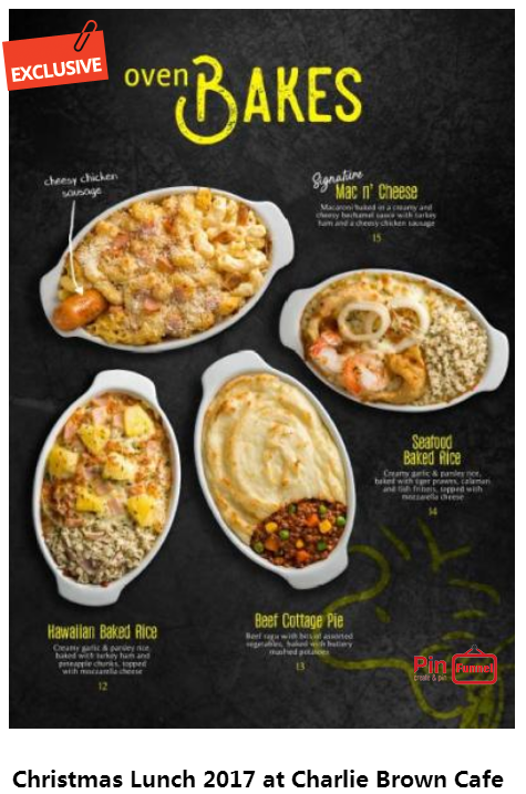 Christmas Lunch Singapore 2017 And Best Deal At Charlie Brown Cafe In Cineleisure Orchard Mall Singapore Choose Fr Charlie Brown Cafe Baked Rice Seafood Bake
