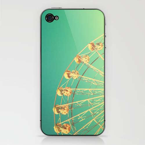 All the happy days - Carnival, ferris wheel , turquoise green, vintage retro, fall autumn, blue sky iPhone & iPod Skin