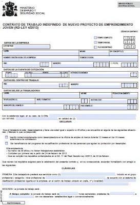 Modelo contrato de nuevos proyectos de emprendimiento for Modelo contrato indefinido