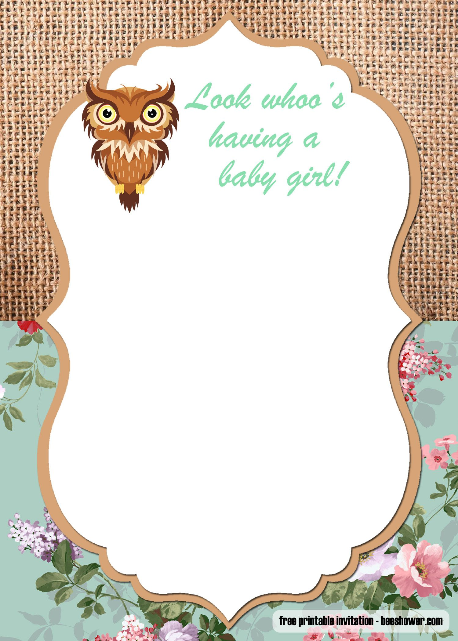Free Printable Owl Baby Shower Invitations Templates Free