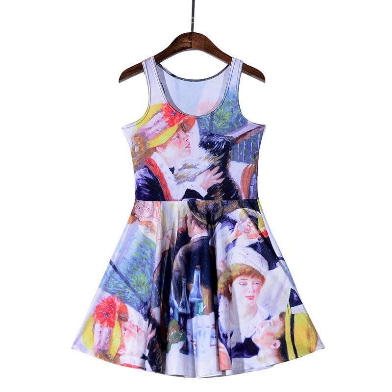 Alice in Wonderland rabbit 3D Prints Reversible Sleeveless Skater Pleated Dress