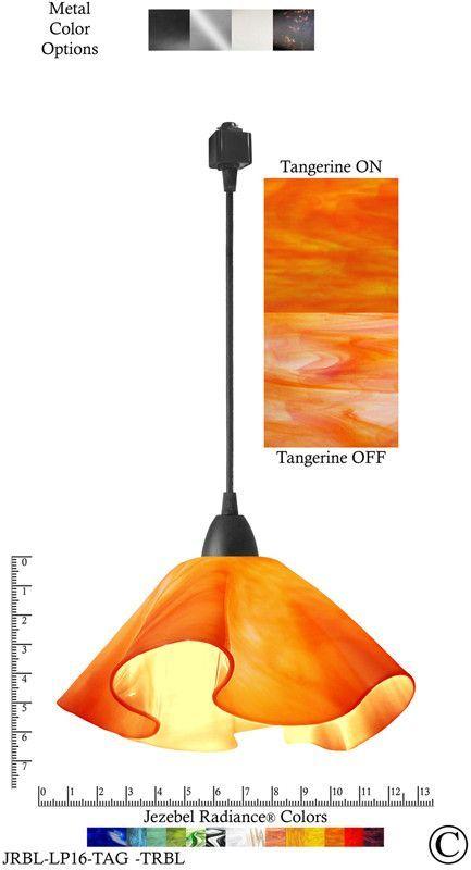 Jezebel Radiance® Lily Track Lighting Pendant Large. Hardware: Black. Glass: Tangerine
