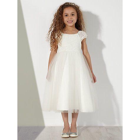 John Lewis Girls\' Lace Mesh Bridesmaid Dress, Ivory