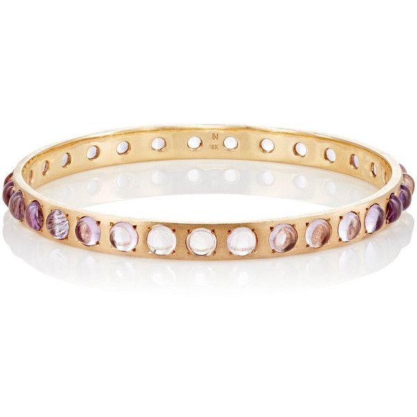 Irene Neuwirth Women's Gemstone Bangle featuring polyvore, women's fashion, jewelry, bracelets, gemstone jewellery, studded jewelry, gemstone jewelry, gemstone bangle and hinged bracelet
