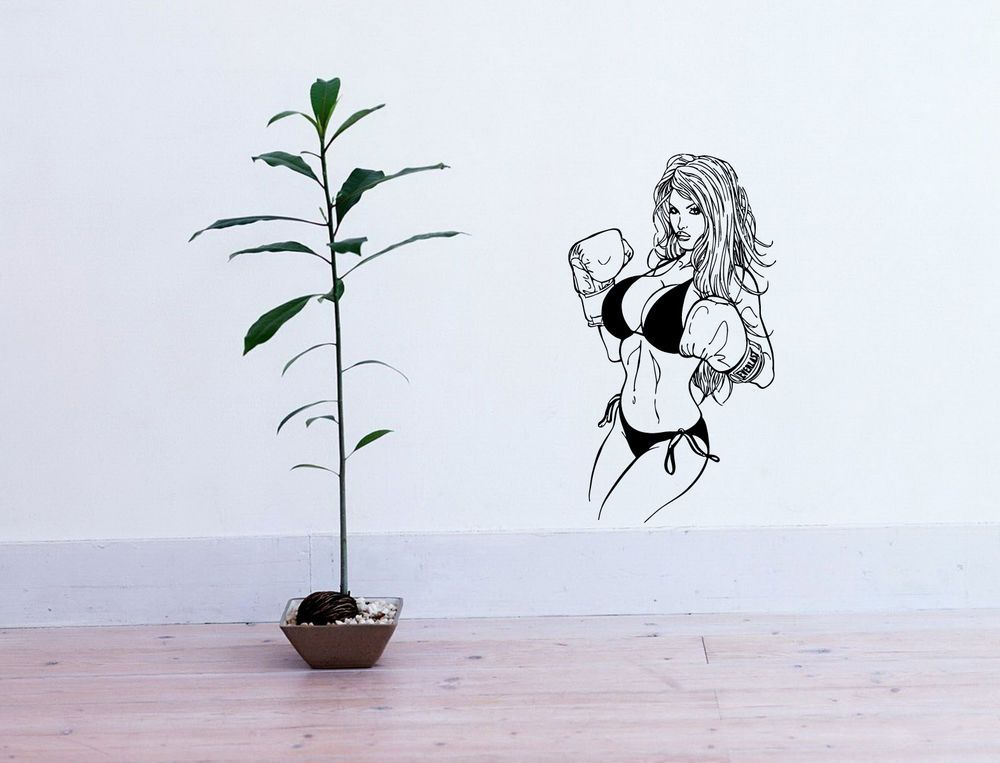 Wall vinyl sticker decals art mural hot sexy girl with boxing gloves d2243