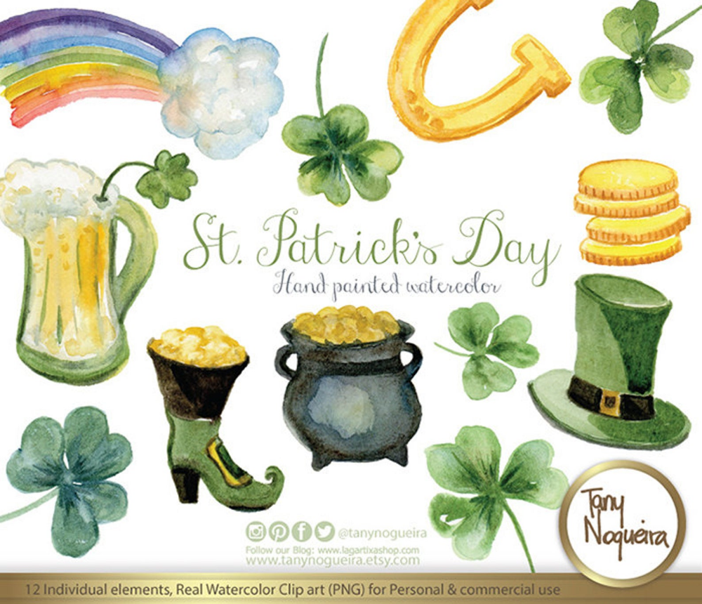 St Patrick S Day Watercolor Clipart Shamrocks Rainbow Pot Etsy In 2021 Watercolor Clipart Clip Art Shamrock Art