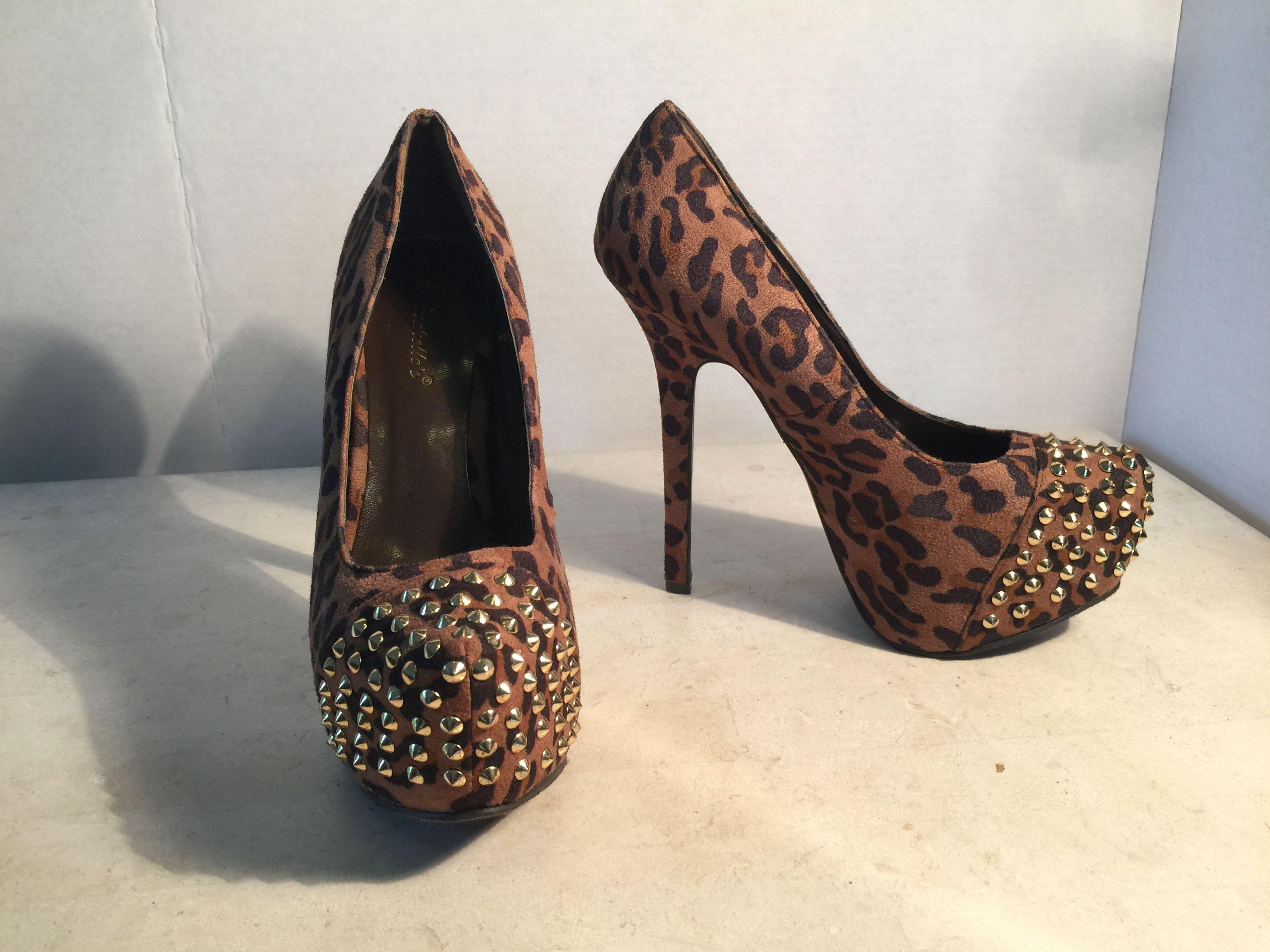 Leopard Print Gold Studded Platform Stiletto Pumps
