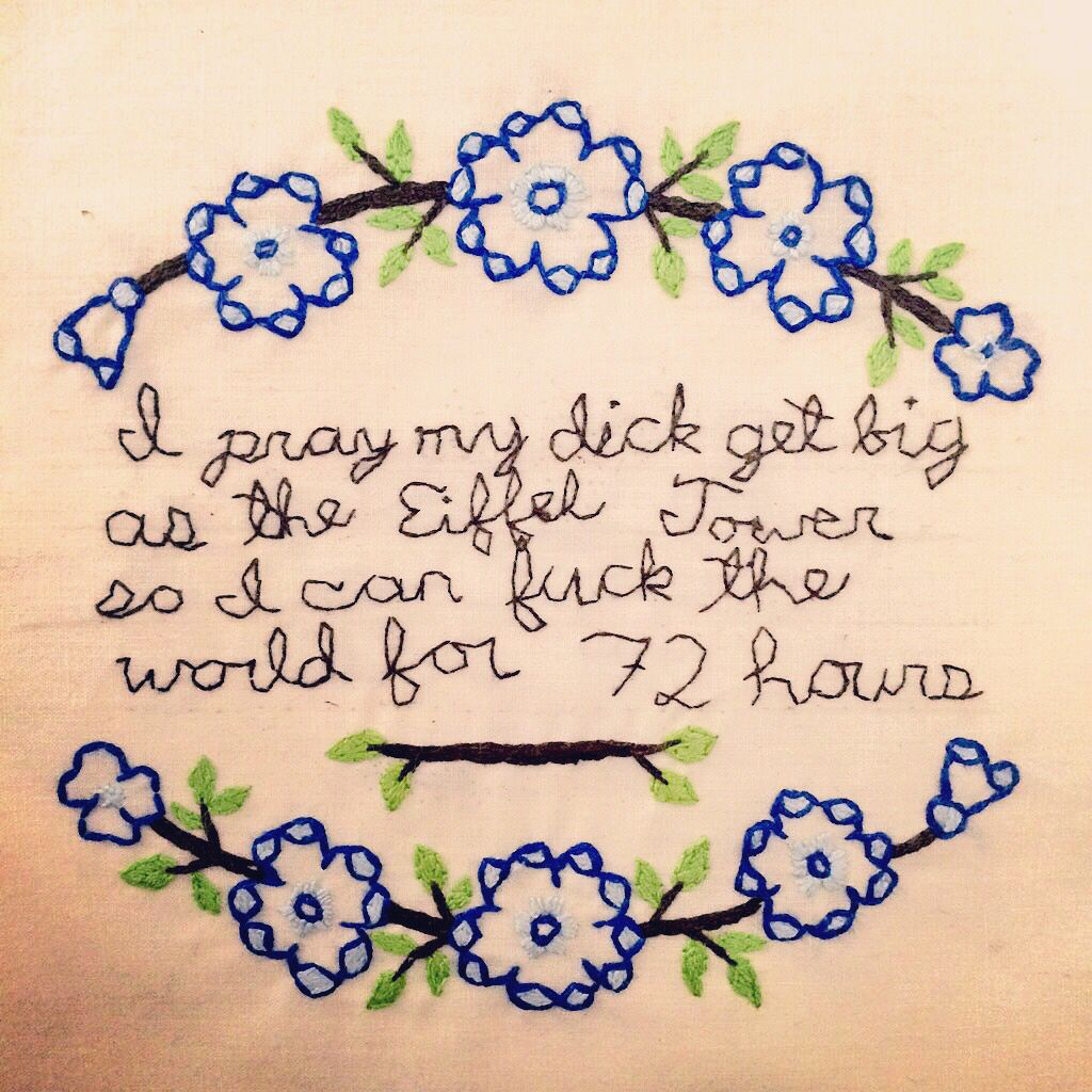 Mix Of Super Cute Flower Embroidery And Blunt Rap Lyrics By Kendrick