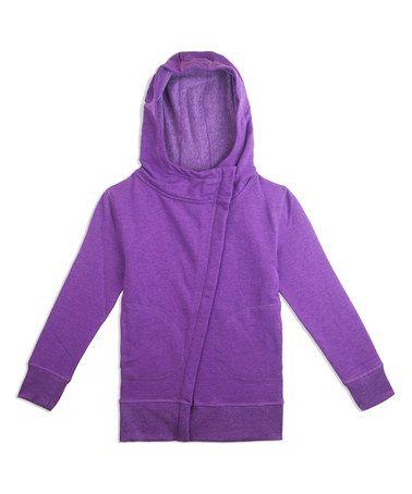 Look at this #zulilyfind! Heather Neon Purple Stretch Fleece Hoodie - Girls #zulilyfinds