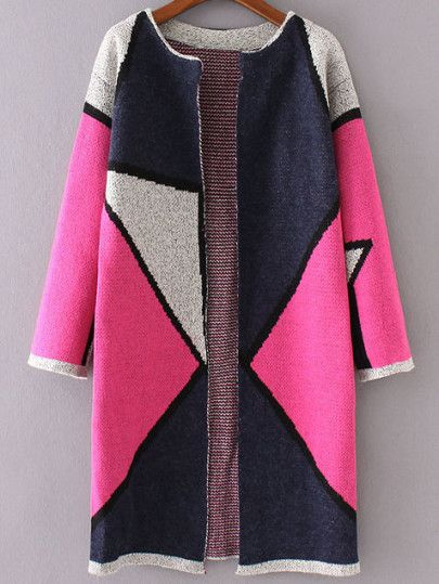 Hot Pink Color Block Collarless Long Cardigan | Long cardigan ...