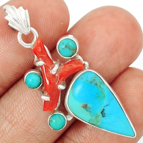 Blue-Turquoise-Red-Coral-925-Sterling-Silver-Pendant-Jewelry-SP178585