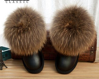 Women Winter Short Real Natural Fox Fur Snow Boots Cowhide Genuine Leather Raccoon Fur Round Toe Flats Cotton Padded Shoes