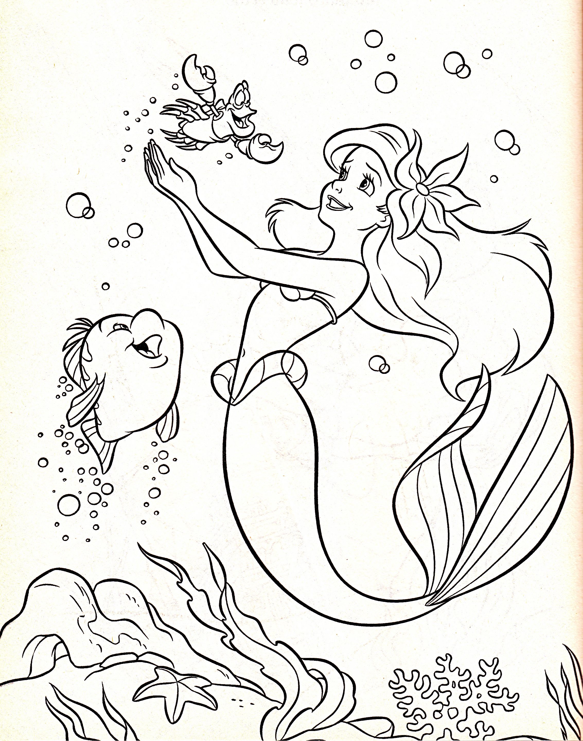 walt disney coloring pages flounder princess ariel sebastian walt