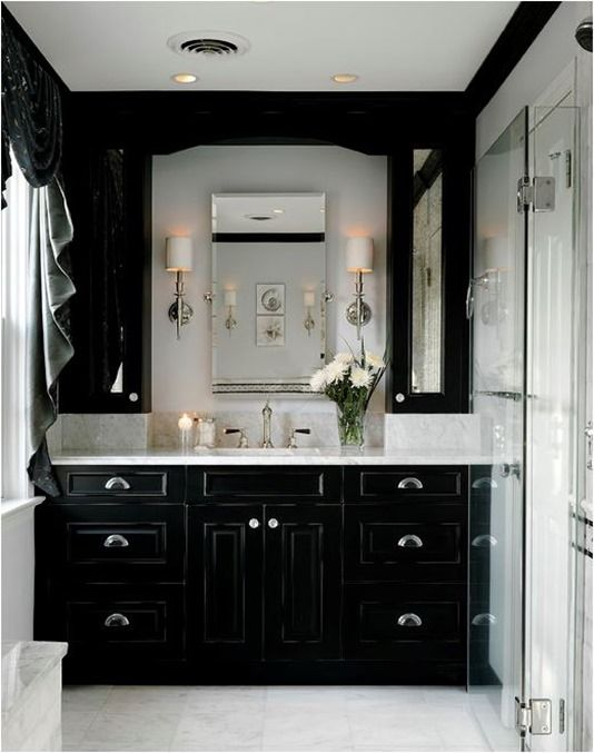 decor interior black white bathroom Decor Pinterest